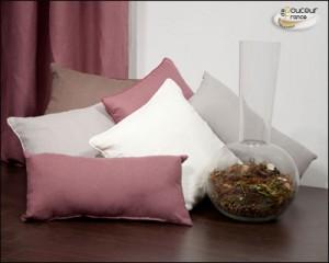 Coussin en lin  Bois de rose, Blanc, Taupe et Gris perle